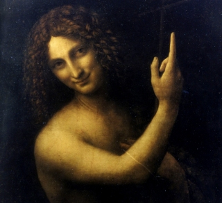 """fine arts, Leonardo da Vinci, 1452 - 1519, ""Saint John the Baptist"", painting, oil on panel, Louvre, Paris, ""San Giovanni Ba"