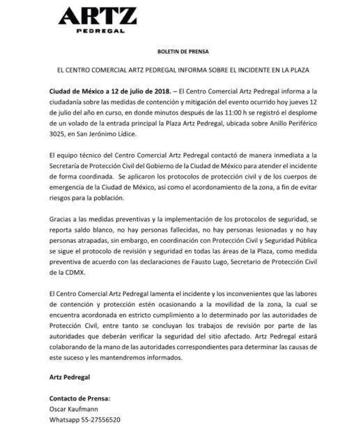 Comunicado de prensa ARTZ Pedregal