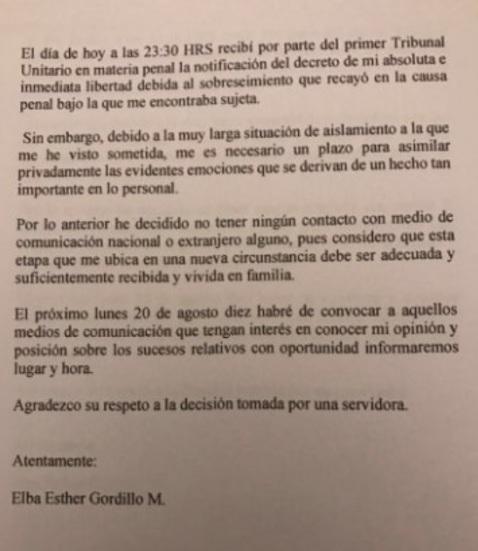 Comunicado Elba Esther Gordillo