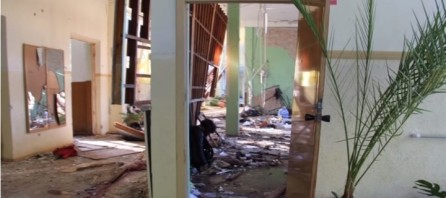 Una parte del colegio después de la explosión